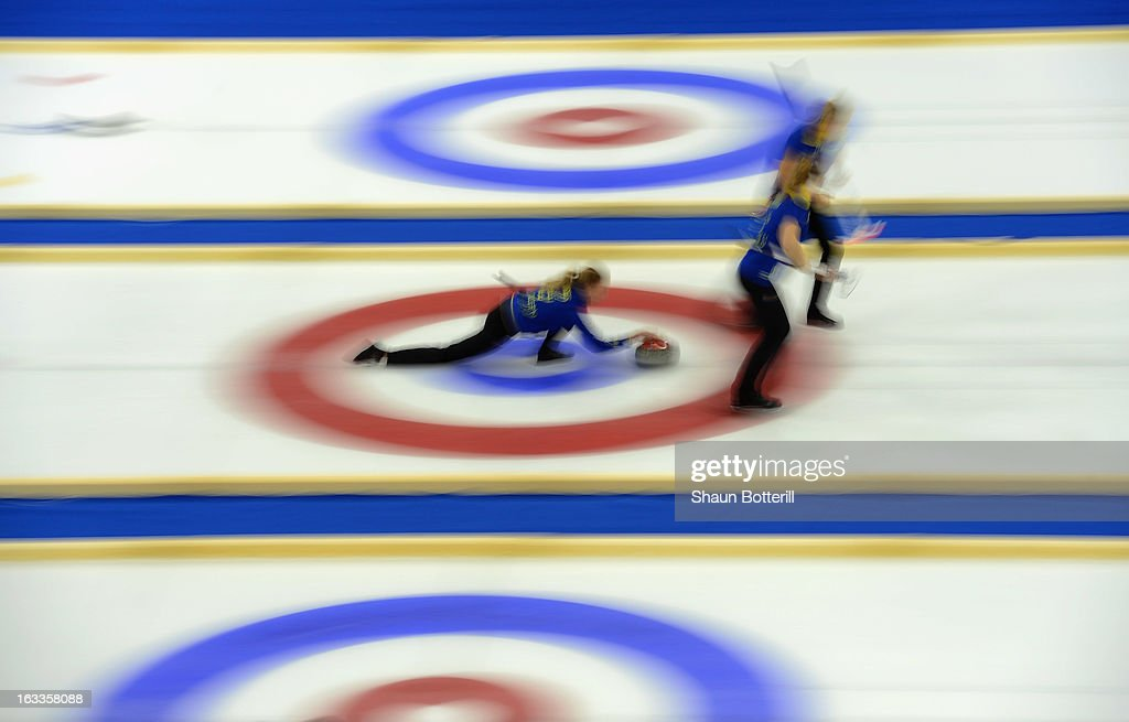 Sweden compete in the World Junior Curling Championships at Ice Cube Curling Center on March 8, 2013 in Sochi, Russia.