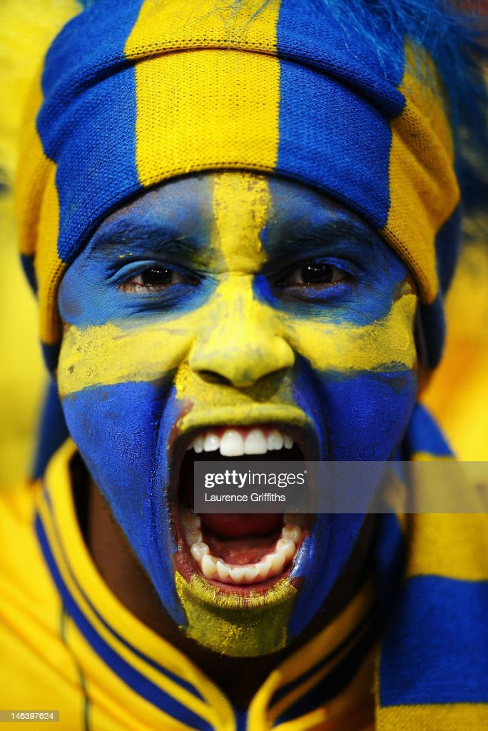 A Sweden fan enjoys the atmosphere ahead of the UEFA EURO 2012 group D match between Sweden and England at The Olympic Stadium on June 15, 2012 in Kiev, Ukraine.