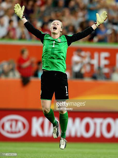 Sweden goalkeeper Hedvig Lindahl celebrates after their first goal during the FIFA Women's World Cup 2011 Group C match between Sweden and USA at the...