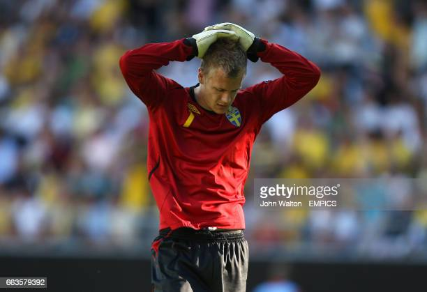 Sweden goalkeeper Johan Dahlin looks dejected in the game against England