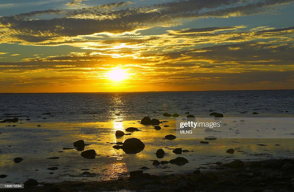 Sweden, Island Oland, sunset