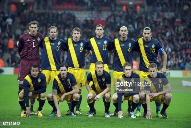 Sweden line up for a group photo before the International Friendly match between England and Sweden at Wembley Stadium on November 15 2011 in London...