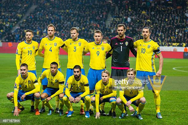 Sweden lineup at the start of the European Qualifier PlayOff between Sweden and Denmark on November 14 2015 in Solna Sweden