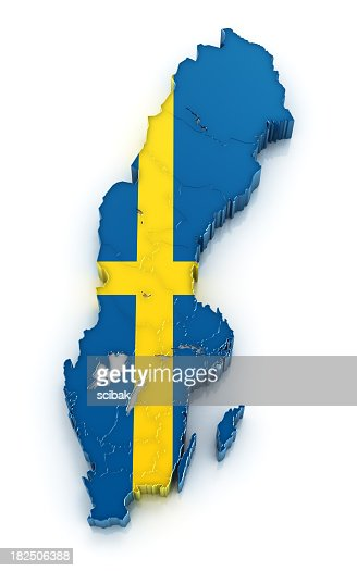 Sweden Map Filled With The Countrys Flag Stock Photo Getty Images - Sweden map flag