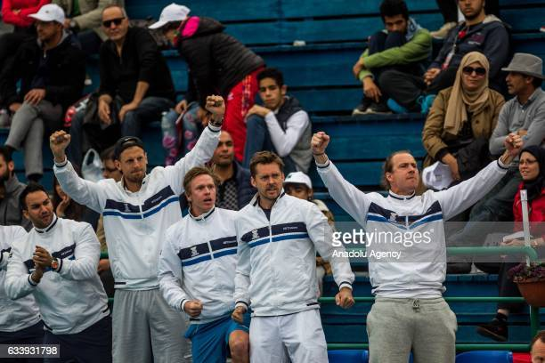Sweden National Team support Isak Arvidsson of Sweden during his second round single tennis match against Mohamed Aziz Dougazi of Tunisia in the...