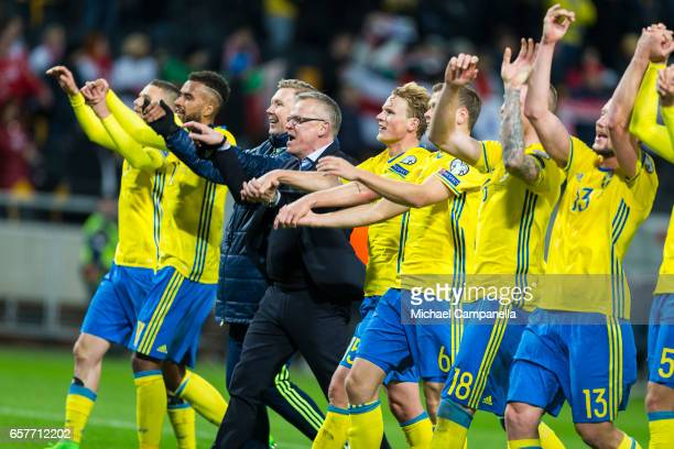 Sweden players celebrate their 40 victory during the FIFA 2018 World Cup Qualifier between Sweden and Belarus at Friends arena on March 25 2017 in...