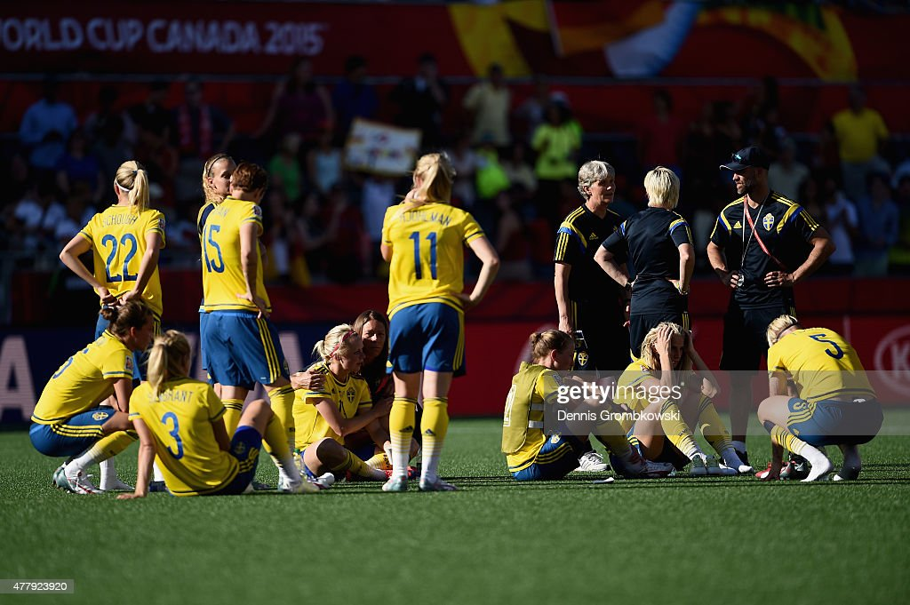 Sweden players look dejected after the FIFA Women's World Cup Canada 2015 Round of 16 match between Germany and Sweden at Lansdowne Stadium on June 20, 2015 in Ottawa, Canada.