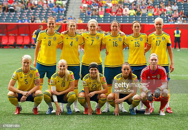 Sweden poses for a team photo prior to the FIFA Women's World Cup Canada 2015 Group D match between Sweden and Nigeria at Winnipeg Stadium on June 8...