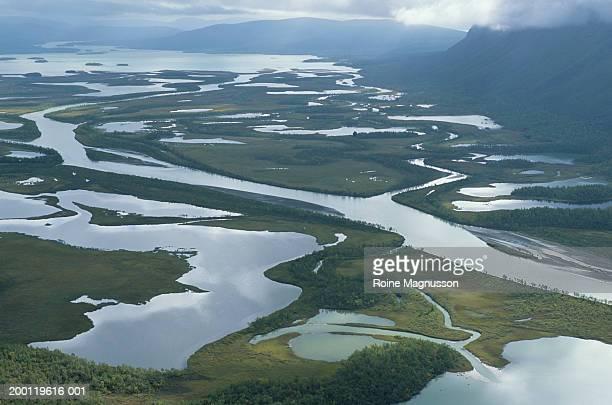 Sweden, Sarek National Park, Rapadalen (aerial view)