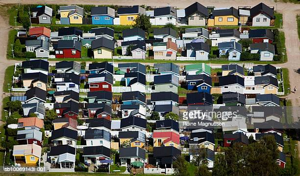 Sweden, Skane, aerial view of colorful houses
