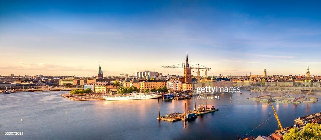 Sweden, Stockholm, Old town at sunset
