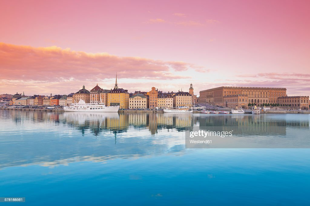 Sweden, Stockholm, View on the Royal Palace and Gamla Stan, old town