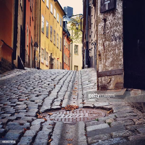 Suecia, Svealand, Estocolmo tapadera de cloaca cubierta en calle street