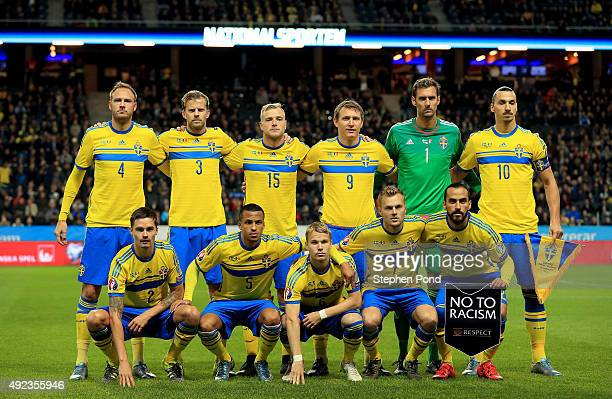 Sweden team group during the UEFA EURO 2016 Qualifying match between Sweden and Moldova at the National Stadium Friends Arena on October 12 2015 in...