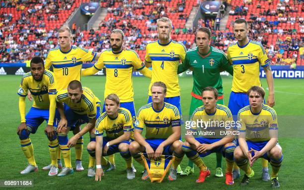 Sweden team group John Guidetti Abdul Khalili Filip Helander Patrik Carlgren and Alexander Milosevic Isaac Kiese Thelin Victor Lindelof Oscar Lewicki...