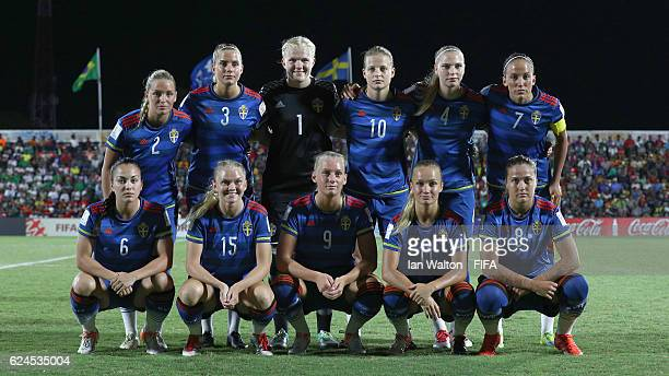 Sweden team line up during the FIFA U20 Women's World Cup Group A match between Brazil and Sweden at PNG Football Stadium on November 20 2016 in Port...