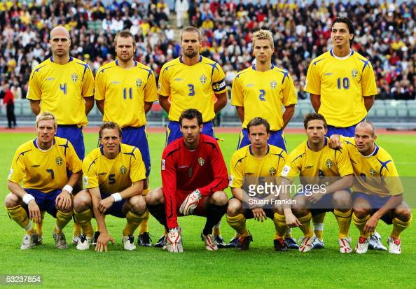 Sweden team line up prior to the World Cup 2006 Qualifying match between Sweden and Malta held at the Ullevi Stadium on May 24 2005 in Gothenburg...