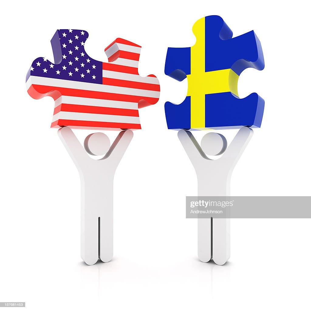 Sweden USA Puzzle Concept : Stock Photo