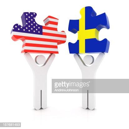 Sweden USA Puzzle Concept : Stockfoto