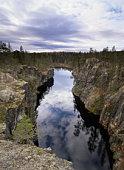 Sweden, Vasterbotten, waterfilled ravine