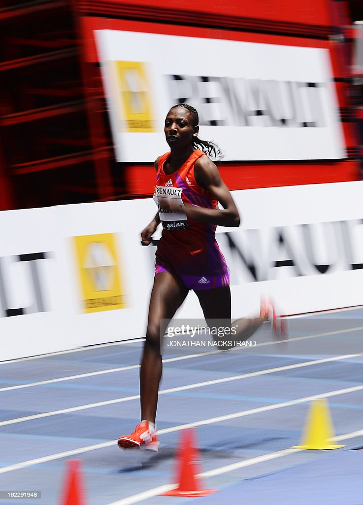 Sweden's Abeba Aregawi competes to win the women's 1500m event during the XL Galan Stockholm Indoor Athletics meeting on February 21, 2013 at the Ericsson Globe Arena in Stockholm.
