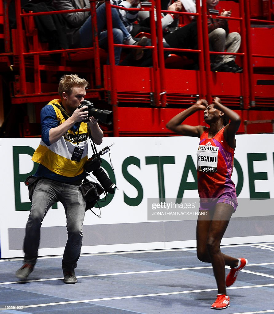 Sweden's Abeba Aregawi reacts after winning the women's 1500m event during the XL Galan Stockholm Indoor Athletics meeting on February 21, 2013 at the Ericsson Globe Arena in Stockholm.