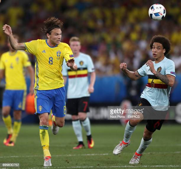 Sweden's Albin Ekdal and Belgium's Axel Witsel battle for the ball