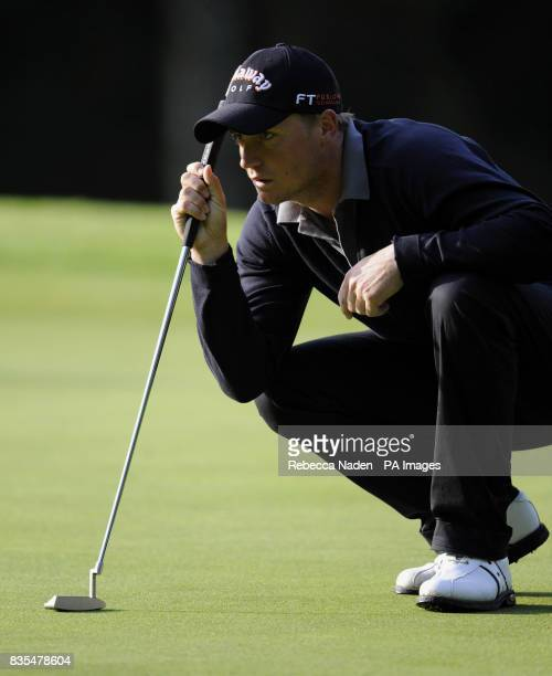 Sweden's Alexander Noren waits to putt on the 1st green during Round 1 of the BMW PGA Championship at Wentworth Golf Club Surrey