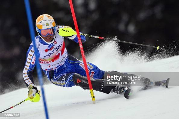 Sweden's Andre Myhrer competes during the Men Slalom race at the Alpine ski World Cup finals on March 17 2013 in Lenzerheide AFP PHOTO / FABRICE...