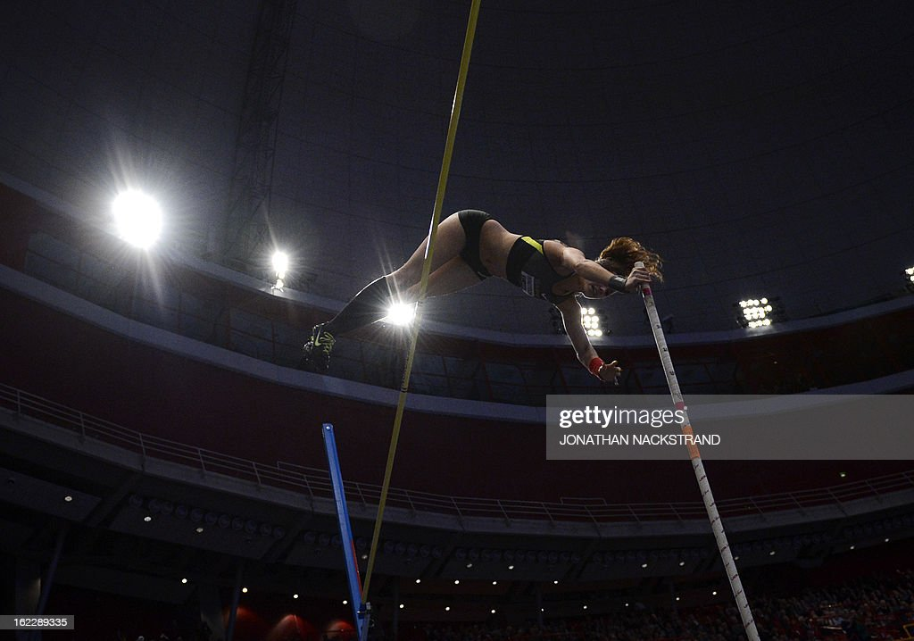 Sweden's Angelica Bengtsson competes during the women's pole vault event of the XL Galan Stockholm Athletics Indoor meeting on February 21, 2013 at the Ericsson Globe Arena in Stockholm.