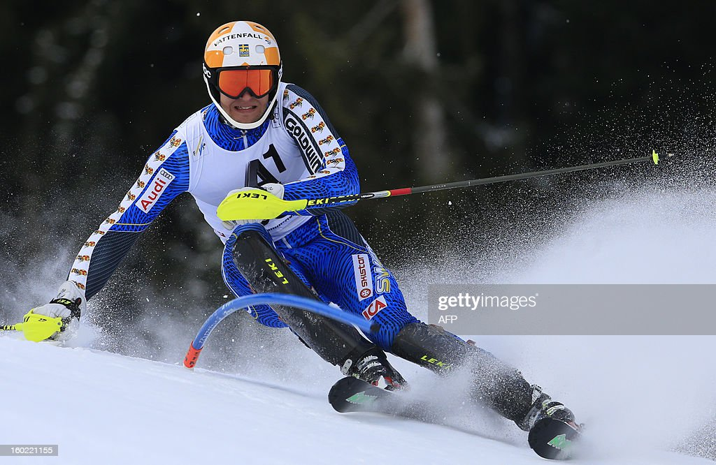 Sweden's Anton Lahdenperae competes during the first round of the FIS World Cup men's slalom race on January 27, 2013 in Kitzbuehel, Austrian Alps.