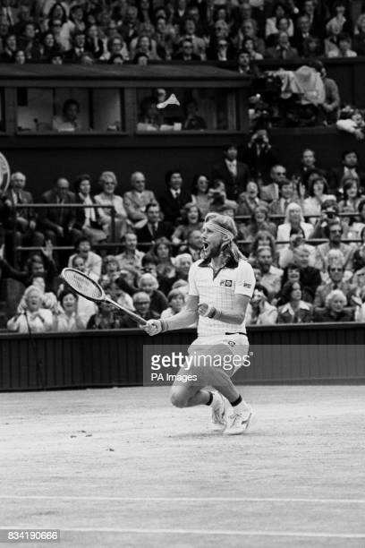 Sweden's Bjorn Borg sinks to his knees on the Centre Court at Wimbledon when he won his fifth successive men's singles title with a thrilling five...