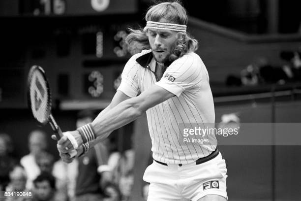 Sweden's Bjorn Borg twohanded return on the centre court as he won his fifth successive men's singles title with a thrilling five sets victory over...