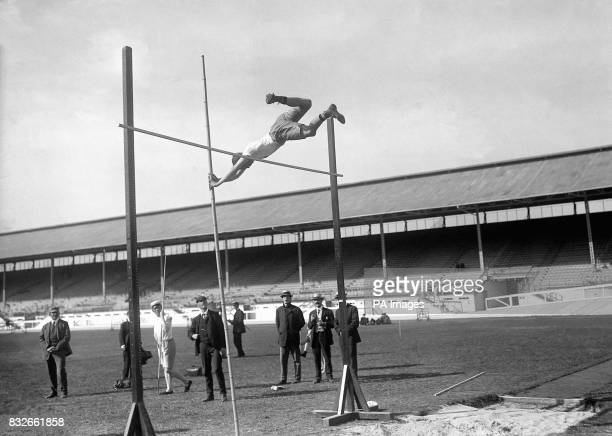 Sweden's Bruno Soderstrom clears a height of 358m to win one of three silver medals awarded in the pole vault