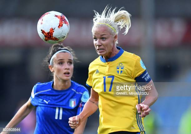TOPSHOT Sweden's Caroline Seger vies with Italy's Barbara Bonansea during the UEFA Women's Euro 2017 football match between Sweden and Italy at De...