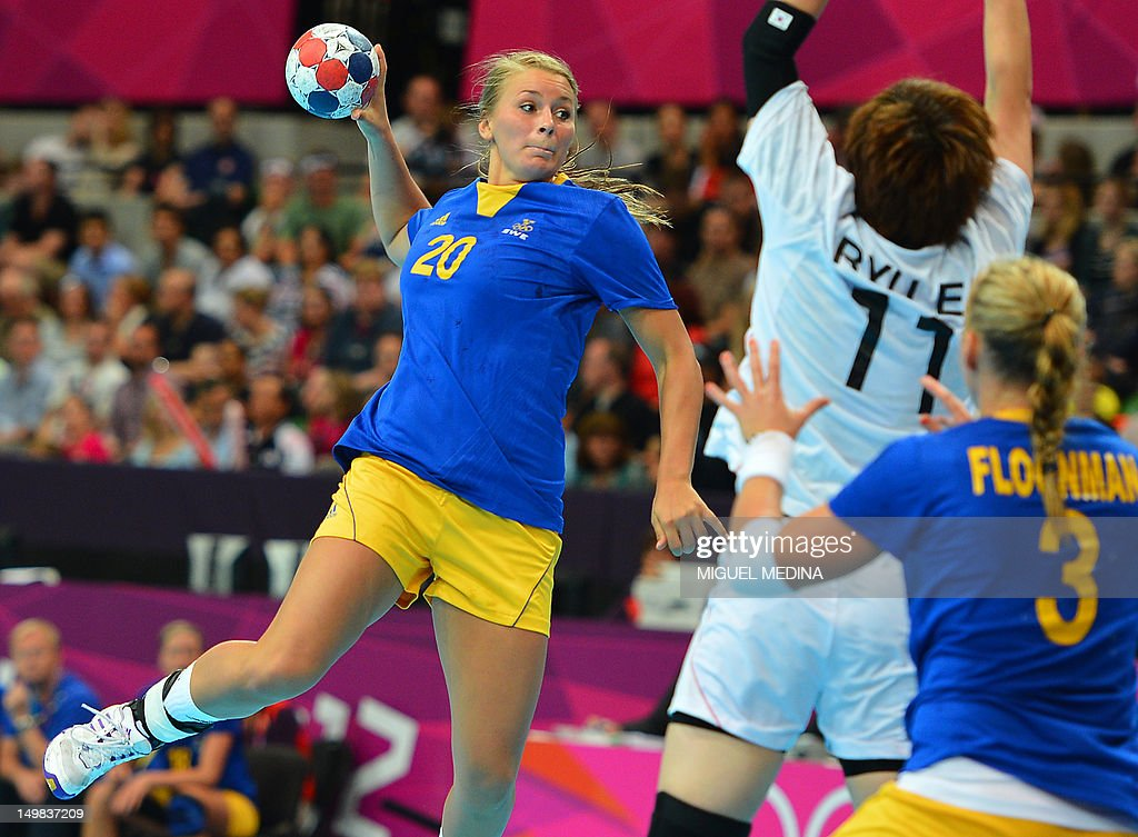 Sweden's centreback Isabelle Gullden jumps to shoot during the women's preliminary Group B handball match Sweden vs South Korea for the London 2012 Olympics Games on August 4, 2012 at the Copper Box hall in London.