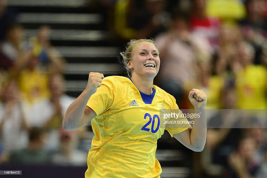 Sweden's centreback Isabelle Gullden reacts after a goal during the women's preliminary Group B handball match Spain vs Sweden for the London 2012 Olympics Games on August 3, 2012 at the Copper Box hall in London.