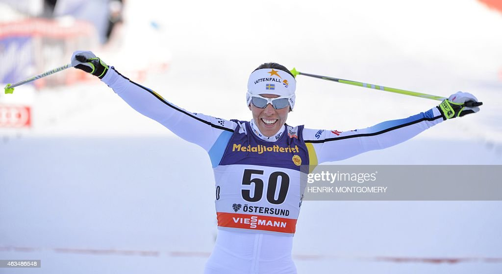 Sweden's <a gi-track='captionPersonalityLinkClicked' href=/galleries/search?phrase=Charlotte+Kalla&family=editorial&specificpeople=4081474 ng-click='$event.stopPropagation()'>Charlotte Kalla</a> celebrates after winning the women's 10 km during the Cross-country Skiing World Cup in Ostersund, Sweden, on February 15, 2015. AFP PHOTO / TT NEWS AGENCY / HENRIK MONTGOMERY +++SWEDEN OUT+++