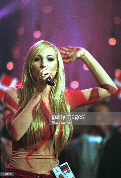 Sweden's Charlotte Nilsson sings an encore after winning the Eurovision ''99 song contest May 30 1999 in Jerusalem Nilsson won with her song ''Take...