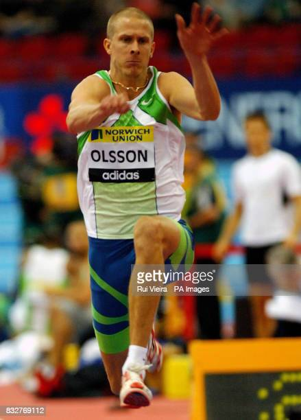 Sweden's Christian Olsson in the Triple Jump during the Norwich Union Indoor Grand Prix at the National Indoor Arena Birmingham