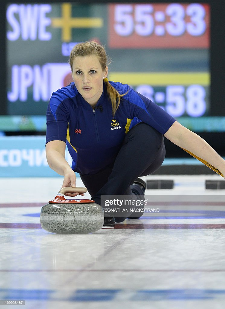 Sweden's Christina Bertrup throws a stone during the Women's Curling Round Robin Session 12 against Japan at the Ice Cube Curling Center during the...