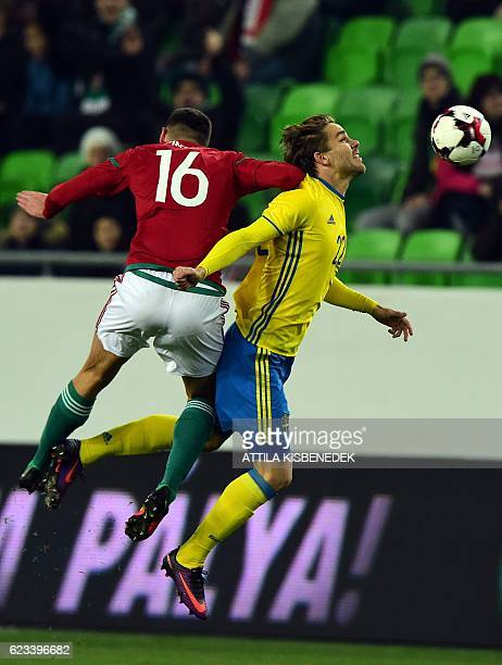 Sweden's Christoffer Nyman vies with Hungary's Adam Pinter during the friendly football match Hunhgary vs Sweden in Budapest on November 15 2016...