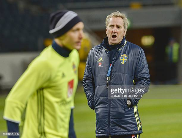 Sweden's coach Erik Hamren reacts during a training session on November 13 on the eve of the Euro 2016 playoff match Sweden vs Denmark in Stockholm...