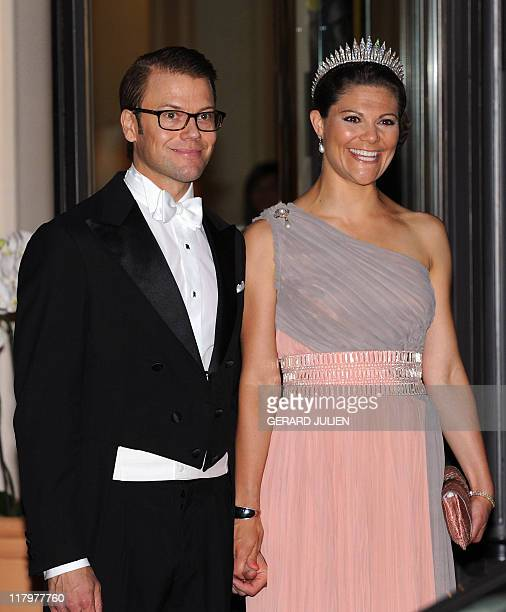 Sweden's Crown Princess Victoria and Duke of Vastergotland of Sweden Prince Daniel leave the Hermitage hotel prior to a dinner at Opera terraces...