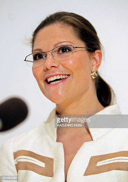 Sweden's Crown Princess Victoria answers questions during a press conference after a ceremony of the Sweden National Day at the 2005 world exposition...