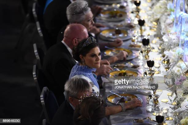 Sweden's Crown Princess Victoria attends the 2017 Nobel Banquet for the laureates in medicine chemistry physics literature and economics in Stockholm...