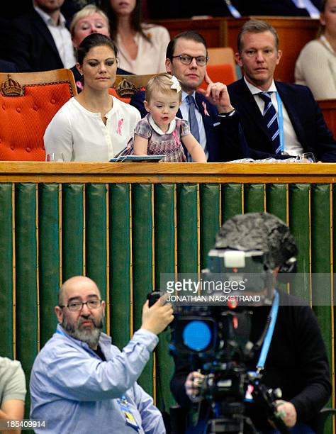 Sweden's Crown princess Victoria Prince Daniel and Princess Estelle look on during the ATP Stockholm Open tennis tournament final match between...