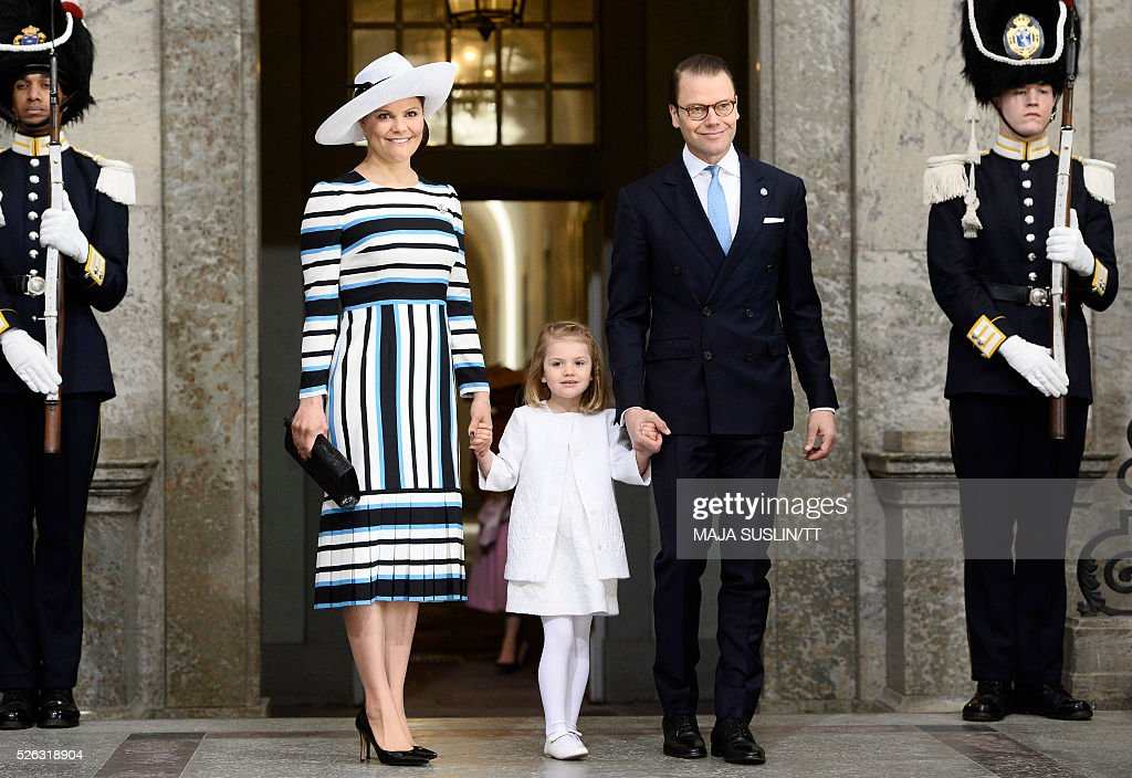 Sweden's Crown Princess Victoria, Princess Estelle and Prince Daniel arrive for the Te Deum thanksgiving service in the Royal Chapel during King Carl XVI Gustaf of Sweden's 70th birthday celebrations in Stockholm, Sweden, April 30, 2016. News Agency / Maja Suslin/TT / Sweden OUT