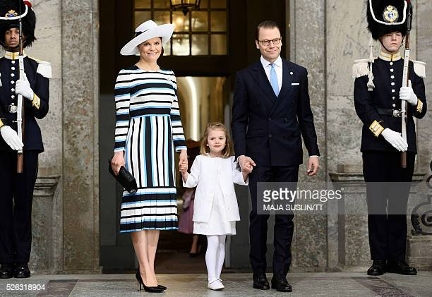 Sweden's Crown Princess Victoria Princess Estelle and Prince Daniel arrive for the Te Deum thanksgiving service in the Royal Chapel during King Carl...