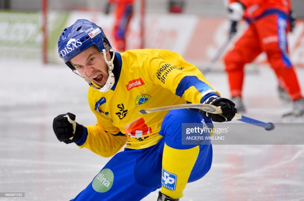 Sweden's Daniel Andersson celebrates after the 1-0 goal during Bandy World Championship final match Sweden vs Russia in Vanersborg, Sweden, February 3, 2013. AFP PHOTO / SCANPIX / ANDERS WIKLUND SWEDEN OUT